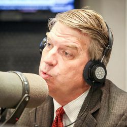 United Utah's Jim Bennett gives his opening statement during an on-air debate between 3rd Congressional District candidates hosted by KSL Newsradio's Doug Wright in Salt Lake City on Tuesday, Oct. 10, 2017. Bennett is vying to fill the remaining year of former GOP Rep. Jason Chaffetz's term. Chaffetz, now a Fox News contributor, resigned June 30.