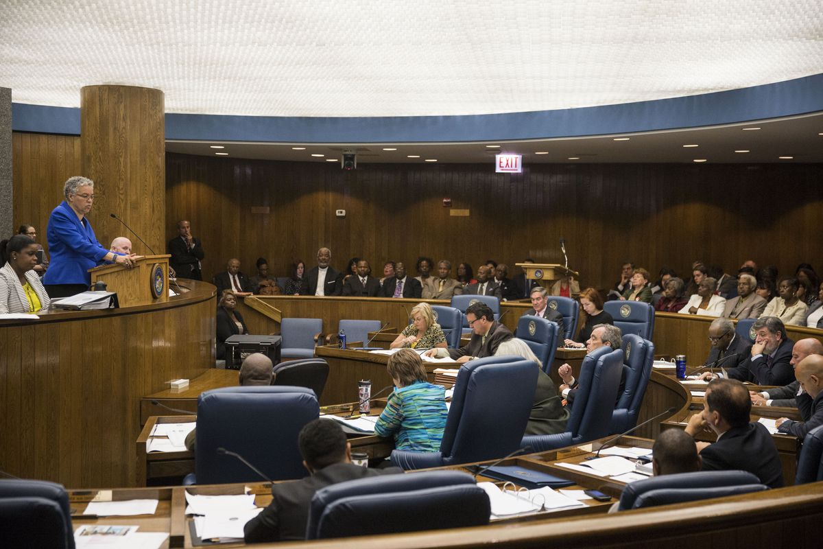 Cook County Board President Toni Preckwinkle addresses a County Board meeting in 2015. | File Photo.