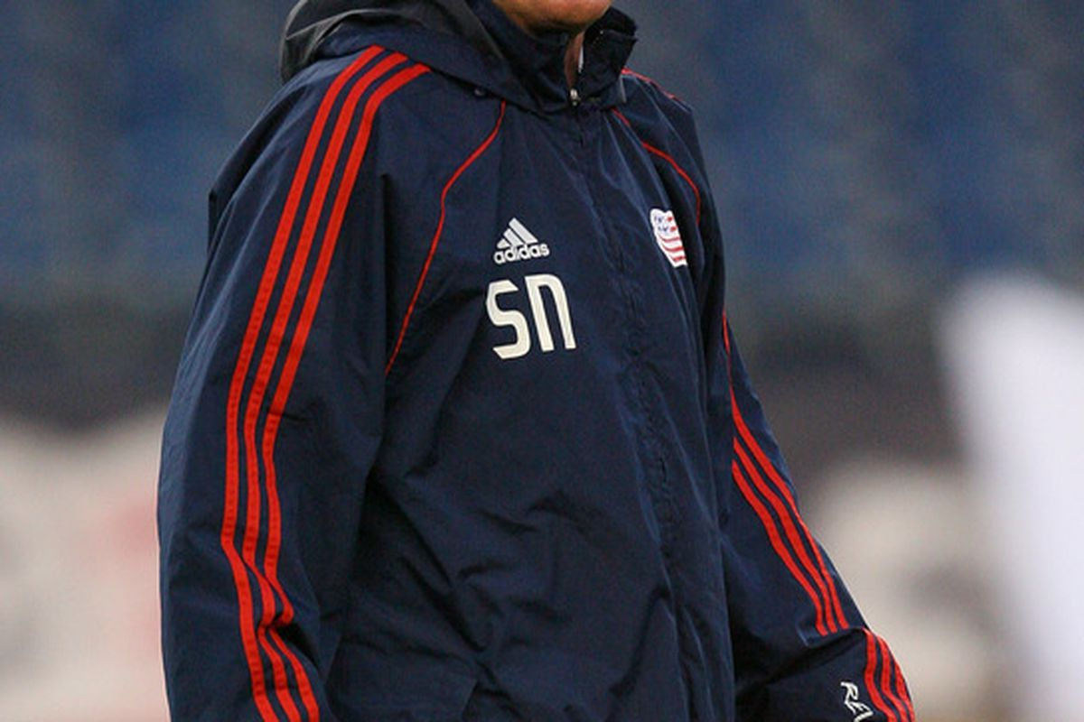 FOXBORO, MA - APRIL 9:  Coach Steve Nicol of the New England Revolution watches pregame drills before a game the Real salt Lake at Gillette Stadium April 9, 2011 in Foxboro, Massachusetts. (Photo by Gail Oskin/Getty Images)