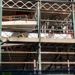 Closeup of demolition on south face of ballpark