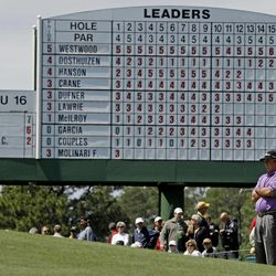 Jason Dufner waits to putt on the 17th hole during the second round of the Masters golf tournament Friday, April 6, 2012, in Augusta, Ga.