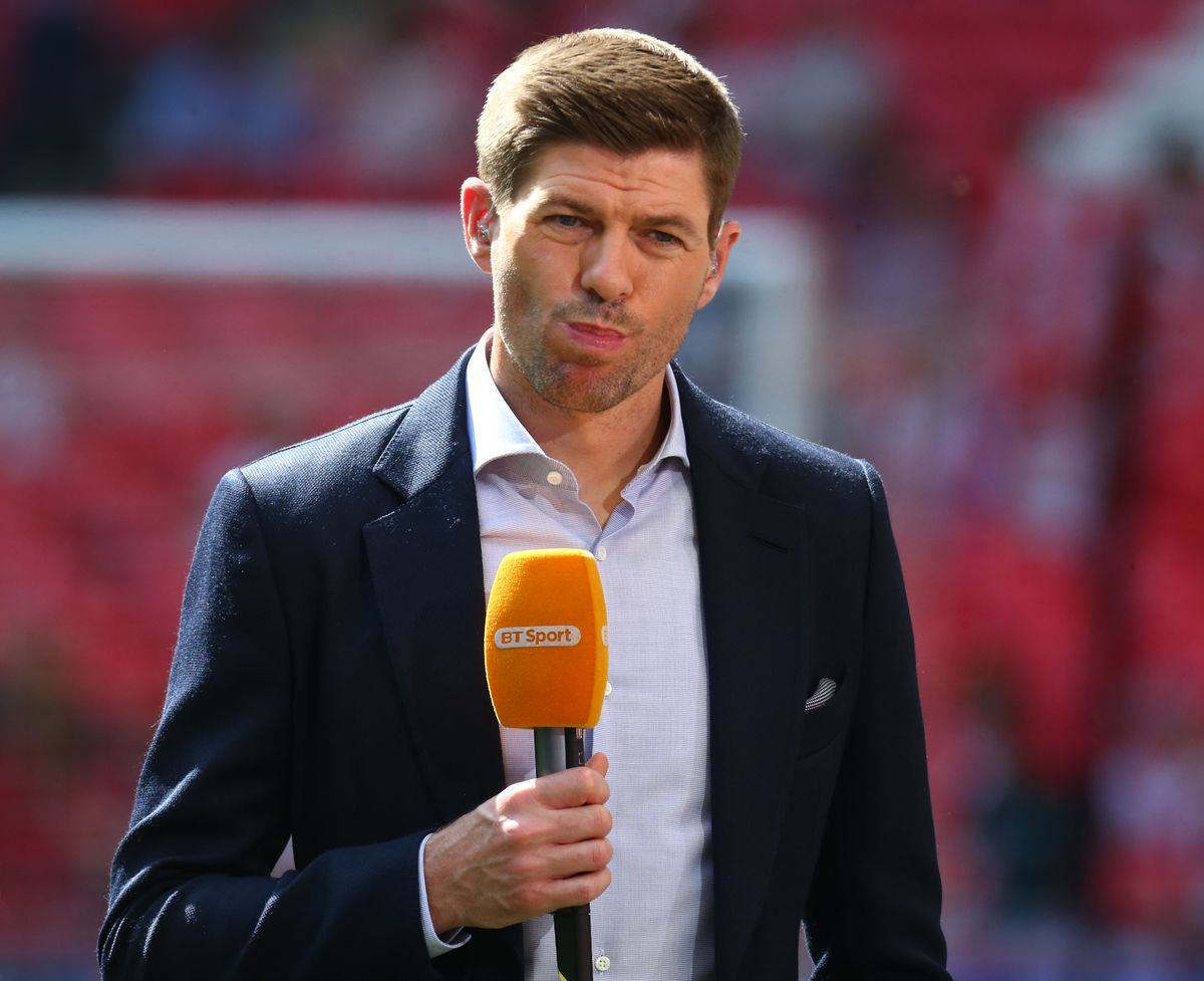 Ex Liverpool player Steven Gerrard during the FA Cup semi-final match between Chelsea and Southampton at Wembley, London, England on 22 April 2018.