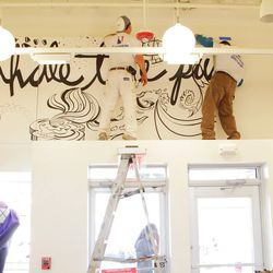 By the time we left, David Lebo's artwork was in the process of being installed, and should be up in no time!