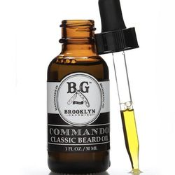 """The scents of this Brooklyn made organic oil are named after the borough's popular areas: Williamsburg (woodsy & floral), Red Hook (spiced), and Fort Greene (herbaceous). <strong>Brooklyn Grooming</strong> Organic Beard Oil, <a href=""""http://www.theonewell"""