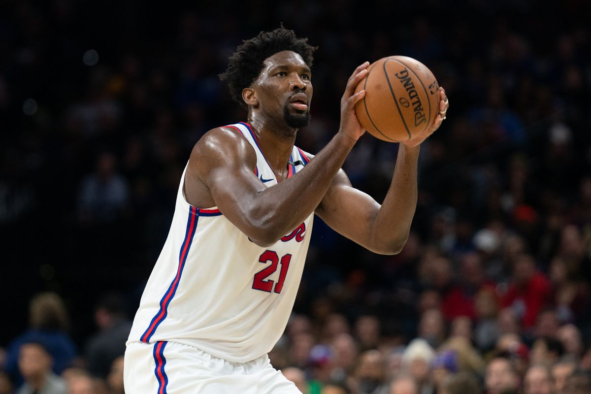 Philadelphia 76ers center Joel Embiid shoots against the Brooklyn Nets during the second quarter at Wells Fargo Center.