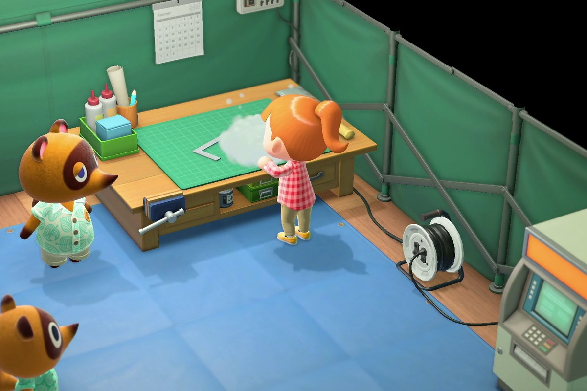 Animal Crossing: New Horizons - at a workbench