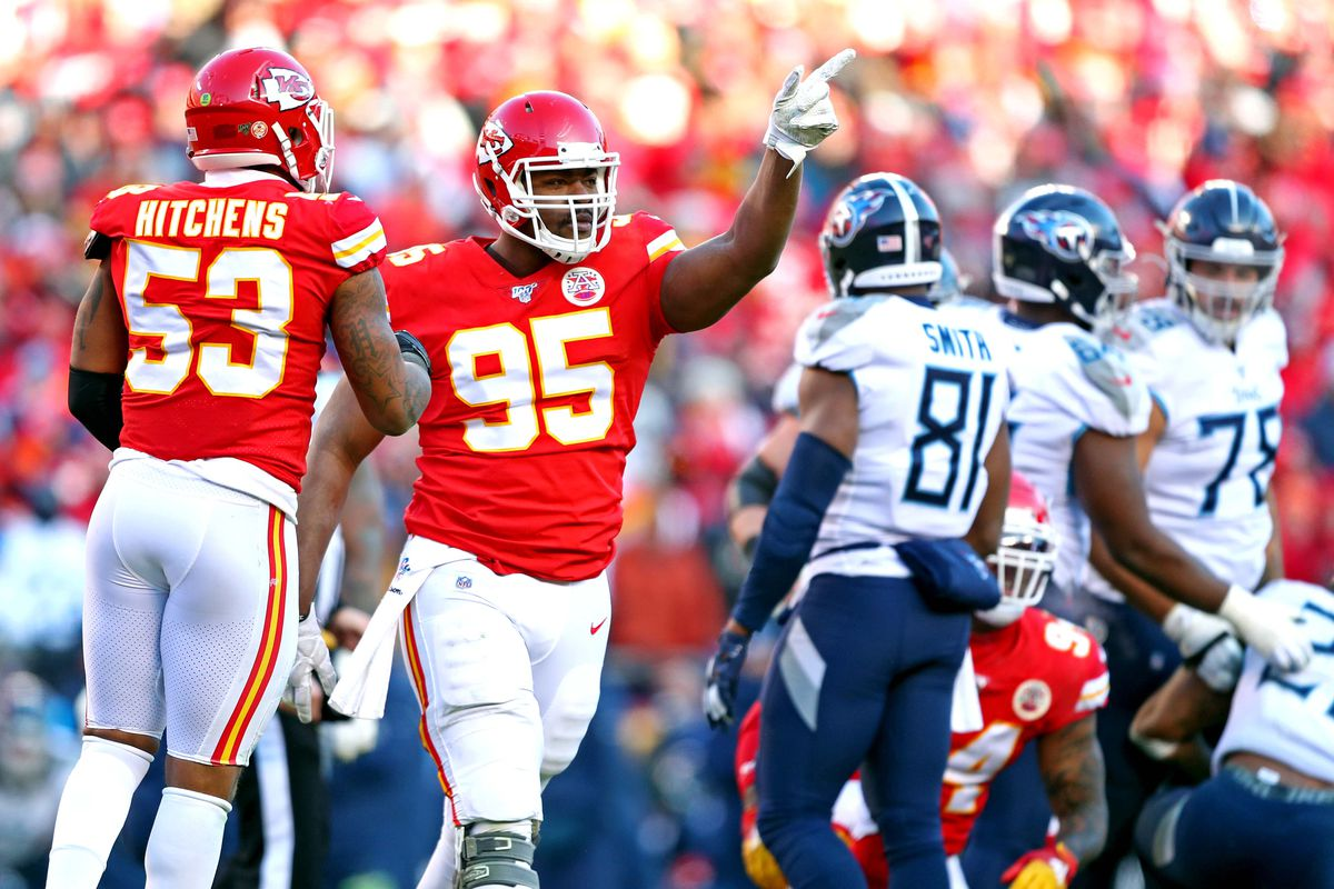 Kansas City Chiefs defensive end Chris Jones reacts after a play during the first half against the Tennessee Titans in the AFC Championship Game at Arrowhead Stadium.