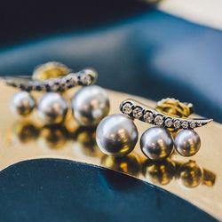 18 karat gold 'Privé' Tahitian gray pearl ear climbers, $2,940