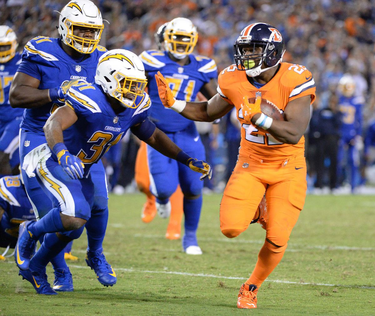 C.J. Anderson says he looks like a  short pumpkin  in the Broncos  Color  Rush uniform 3719ca379