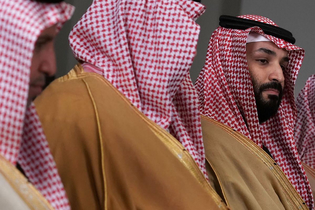 Crown Prince of Saudi Arabia Mohammad Bin Salman speaks during a bilateral meeting with U.S. Secretary of Defense Jim Mattis March 22, 2018 at the Pentagon.