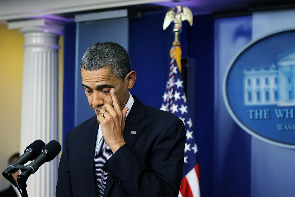 President Obama tears up while addressing the nation about the Newtown shootings.