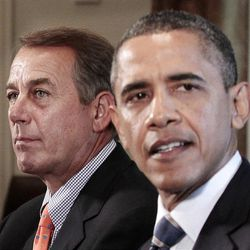 House Speaker John Boehner of Ohio listens at left as President Barack Obama speaks during a meeting with Congressional leadership to discuss the debt, Thursday, July 7, 2011, in the Cabinet Room of the White House in Washington.