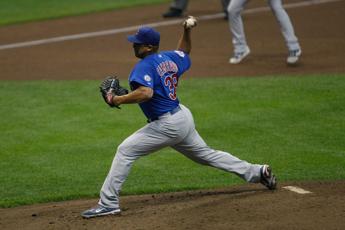 Carlos Zambrano of the Chicago Cubs pitches against the Milwaukee Brewers at Miller Park in Milwaukee, Wisconsin. (Photo by Scott Boehm/Getty Images)