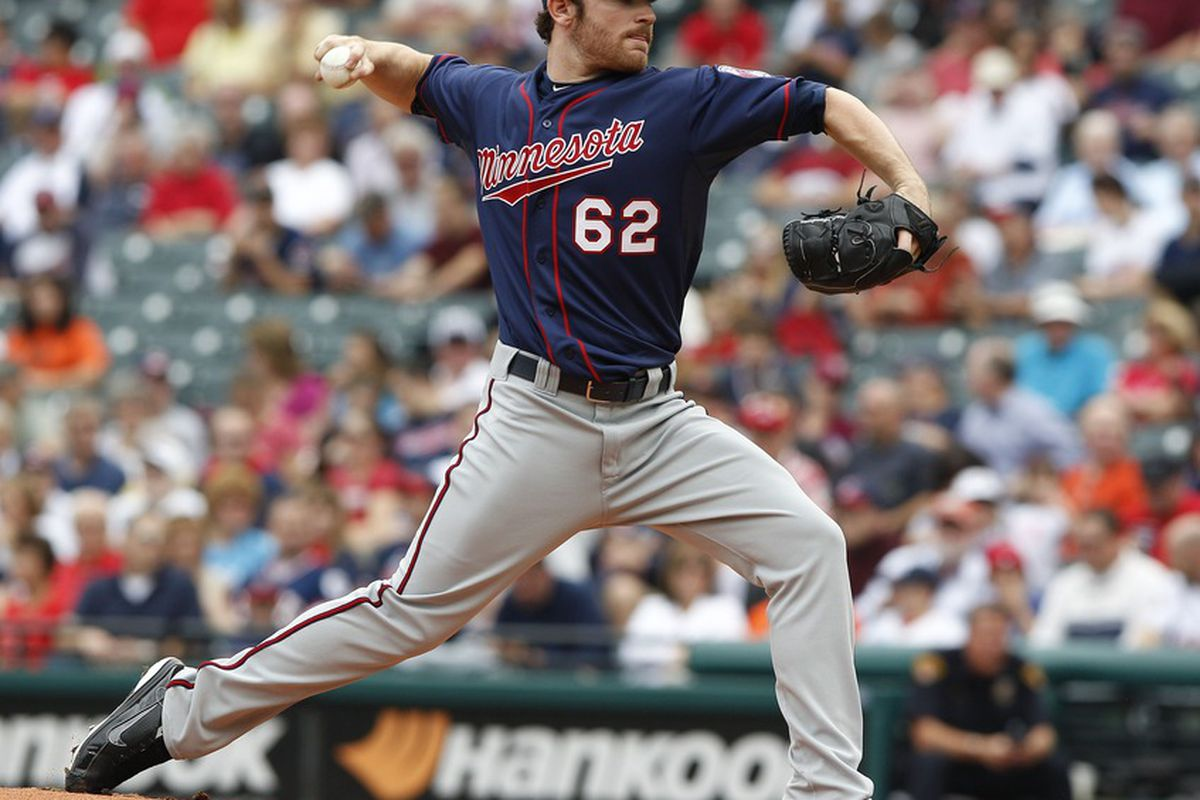CLEVELAND, OH - SEPTEMBER 25:   Liam Hendriks #62 of the Minnesota Twins pitches against the Cleveland Indians during the first inning of their game on September 25, 2011 at Progressive Field in Cleveland, Ohio.  (Photo by David Maxwell/Getty Images)