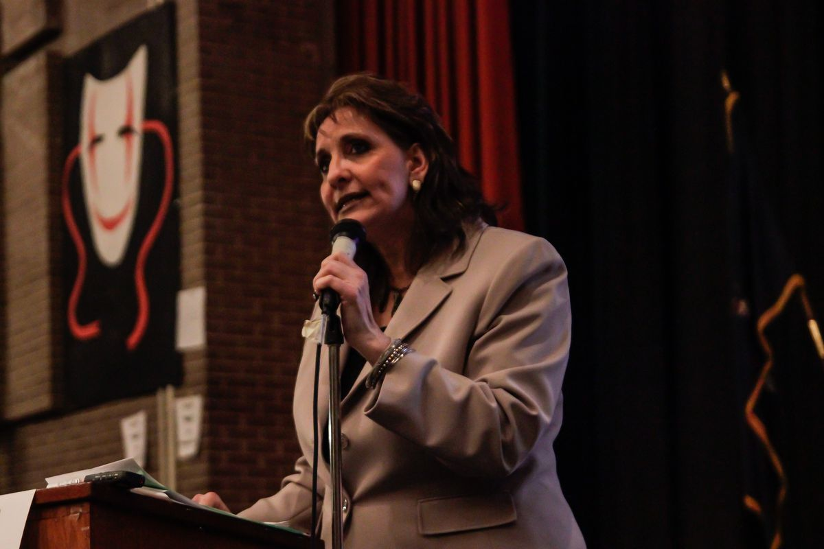 Outgoing Lehman Principal Rose LoBianco at a public hearing in 2013, where she said the city's changing plans to turn around the school caused disruptions.