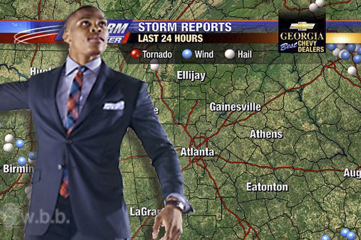 Weatherman Westbrook predicts...a storm in Atlanta tonight