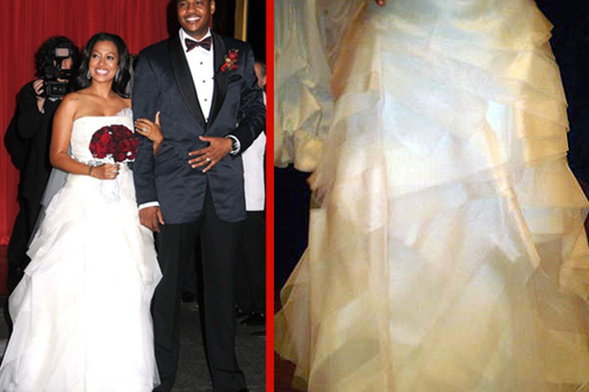"""Vazquez and Carmelo at their wedding; her dress via <a href=""""http://globalgrind.com/channel/gossip/content/1682842/lala-vazquez-and-carmelo-anthony-wedding-photos/?pc=1&amp;pi=14"""">GlobalGrind</a>"""