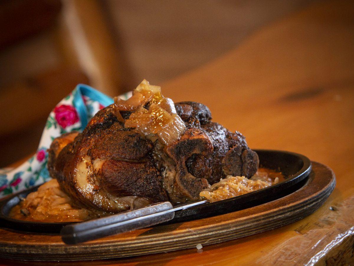 A platter of crispy pork shank.
