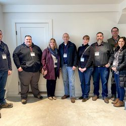 A smaller group of Insiders were granted the chance to be in the final scene of the Cape Ann house reveal episode. Before the final scene, This Old House Executive Producer Chris Wolfe took questions from the group and revealed production secrets. From left to right:Eli Gill, Andrew Witkowski, Stacey Specht, Henry Specht, Monica York, Joseph York, Brian Cunniff, and Tricia Cunniff.