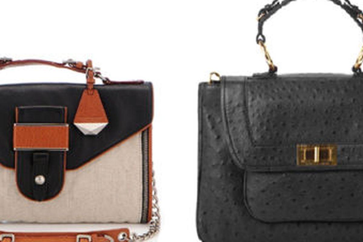 """<a href=""""http://rebeccaminkoff.com/shop/sale/rivington.html"""">Rivington-Linen Leather</a>, $375 (was $695), and <a href=""""http://rebeccaminkoff.com/shop/sale/ostrich-covet.html"""">Ostrich Embossed Covet</a>, $225 (was $450), via <a href=""""http://rebeccam"""