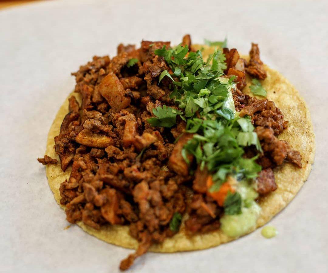 The steak and potatoes taco from Vaquero Taquero
