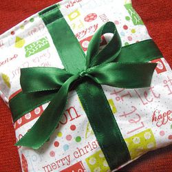 """""""Eco Christmas Gift Wrap"""" which  is a small, lined pouch with Velcro closure. See the """"how to"""" instructions on Jessica Okui's crafting blog site, Zakka Life."""