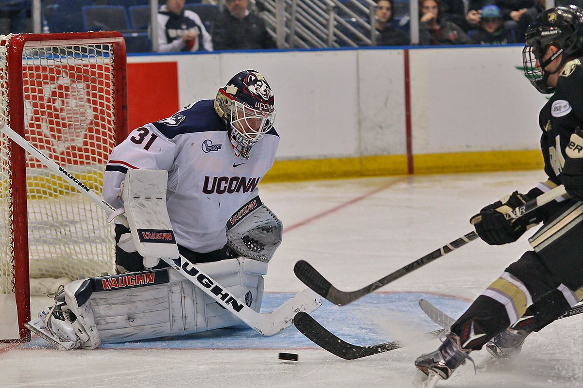 Rob Nichols made 29 saves for UConn Tuesday night, but the Huskies could not get him any support on the other side of the ice.