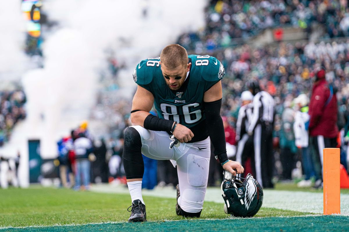 Philadelphia Eagles tight end Zach Ertz before a game against the Seattle Seahawks at Lincoln Financial Field.