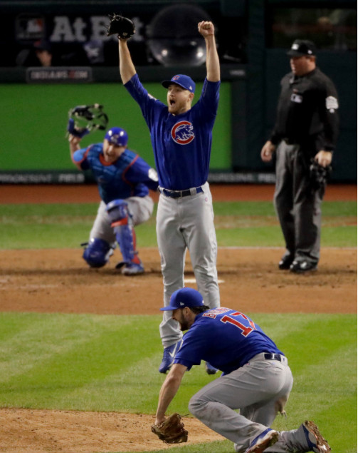 <em>Montgomery, arms raised, after the final out of Game 7.</em>