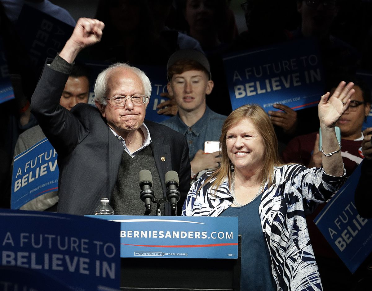 Democratic presidential candidate Sen. Bernie Sanders, I-Vt., and his wife, Jane, wave after a campaign rally on Tuesday, May 3, 2016, in Louisville, Kentrucky.   Charlie Riedel/AP