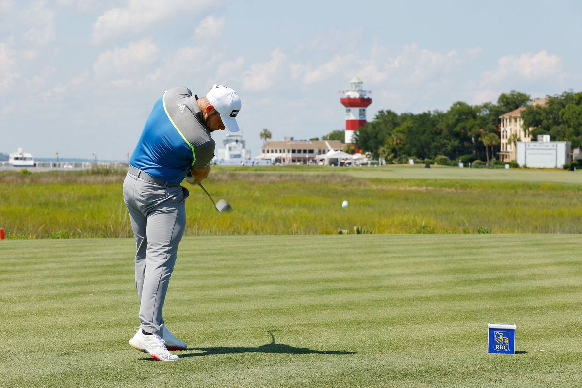 Tyrrell Hatton of England plays his shot from the 18th tee during the third round of the RBC Heritage on June 20, 2020 at Harbour Town Golf Links in Hilton Head Island, South Carolina.