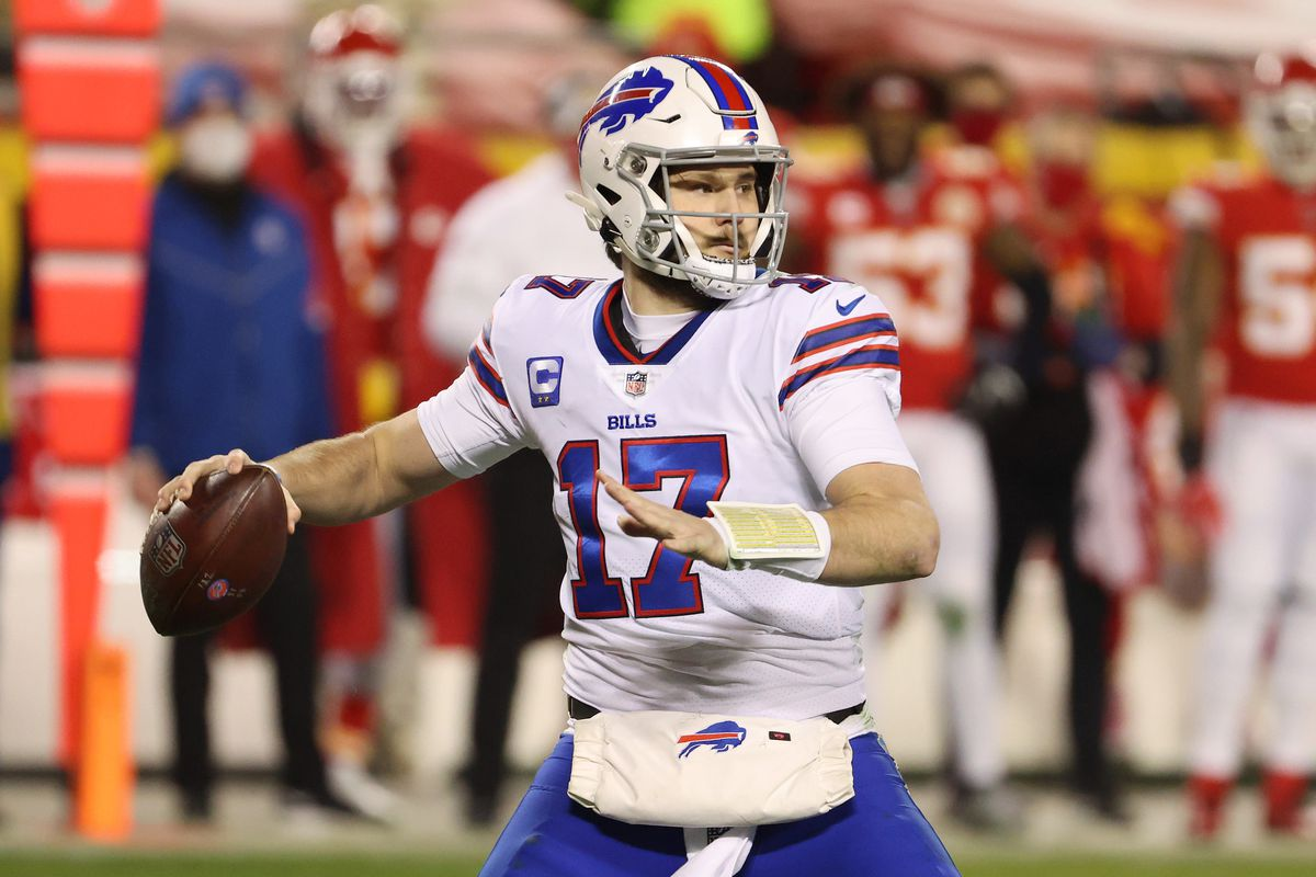 Josh Allen #17 of the Buffalo Bills looks to pass in the first half against the Kansas City Chiefs during the AFC Championship game at Arrowhead Stadium on January 24, 2021 in Kansas City, Missouri.