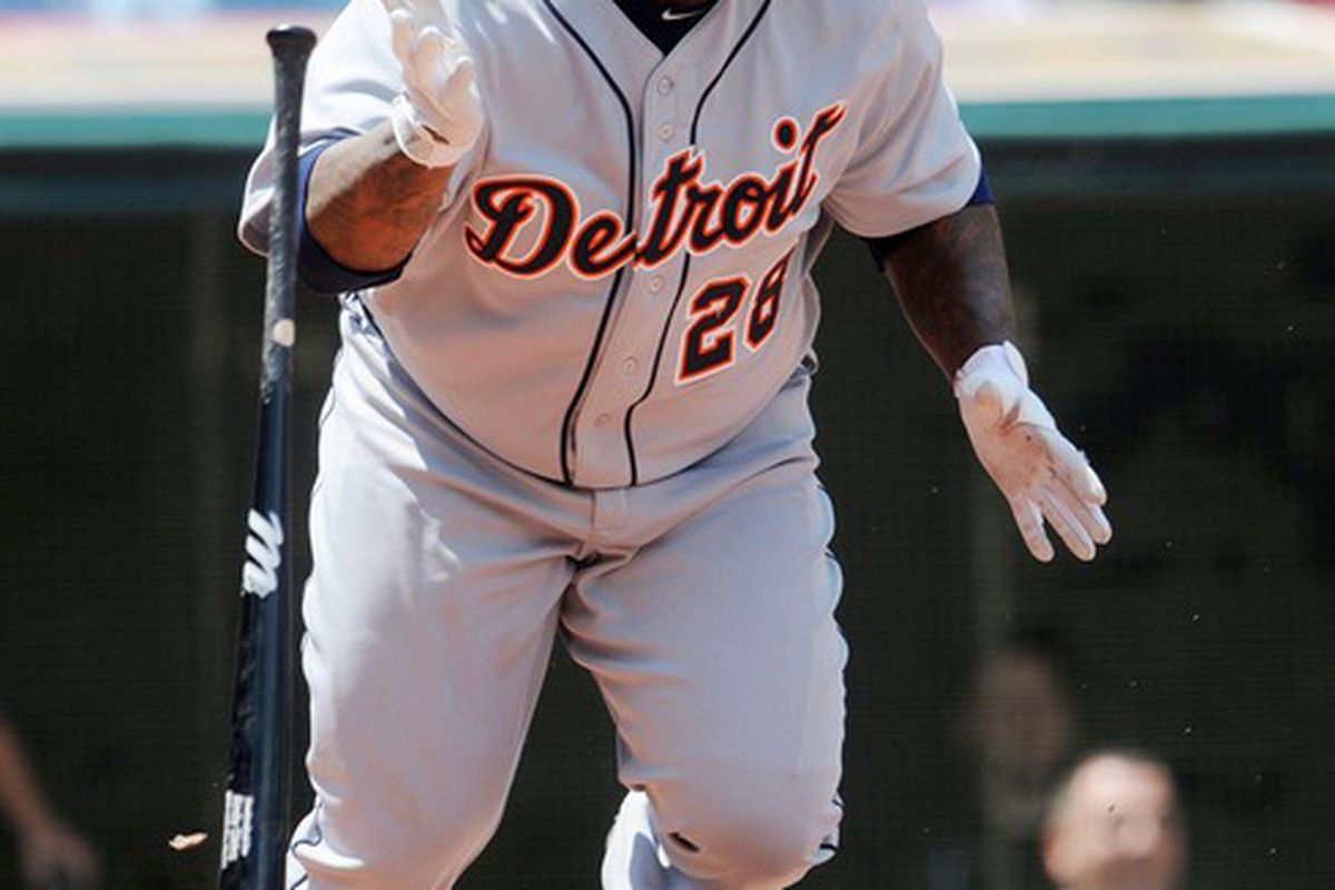 May 24, 2012; Cleveland, OH, USA: Detroit Tigers first baseman Prince Fielder (28) during the game against the Cleveland Indians at Progressive Field.  Mandatory Credit: Eric P. Mull-USPRESSWIRE