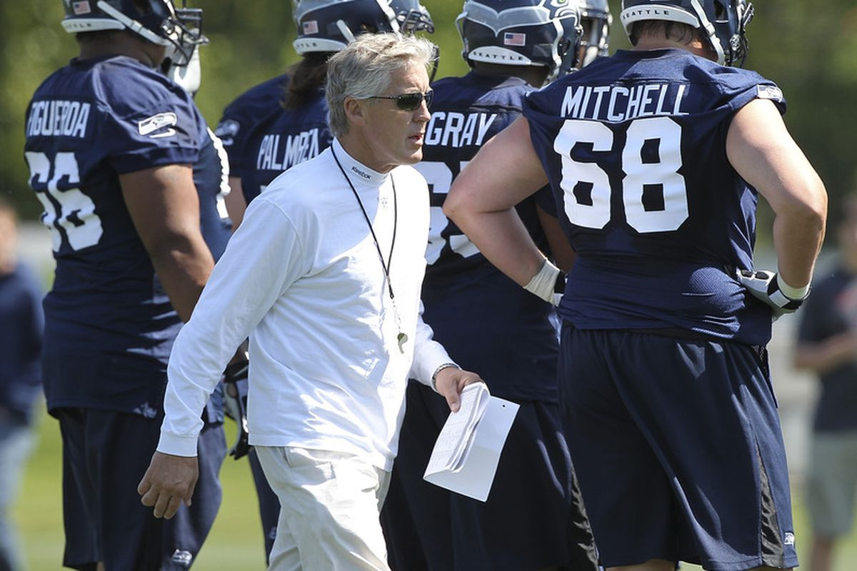 RENTON, WA - MAY 11:  Head coach Pete Carroll of the Seattle Seahawks looks on during minicamp at the Virginia Mason Athletic Center on May 11, 2012 in Renton, Washington. (Photo by Otto Greule Jr/Getty Images)