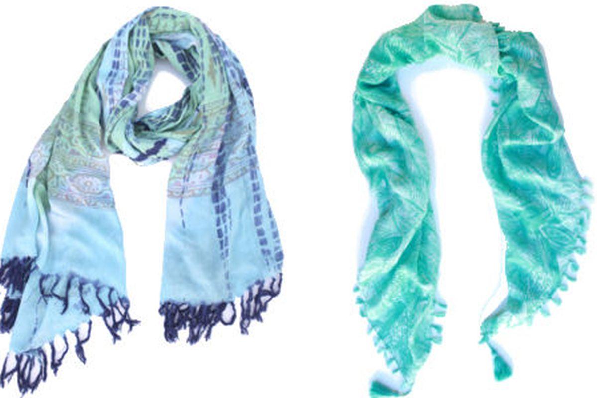 The Destination Maldives Mantra Wrap ($75) and the Peacock Handkerchief ($40)