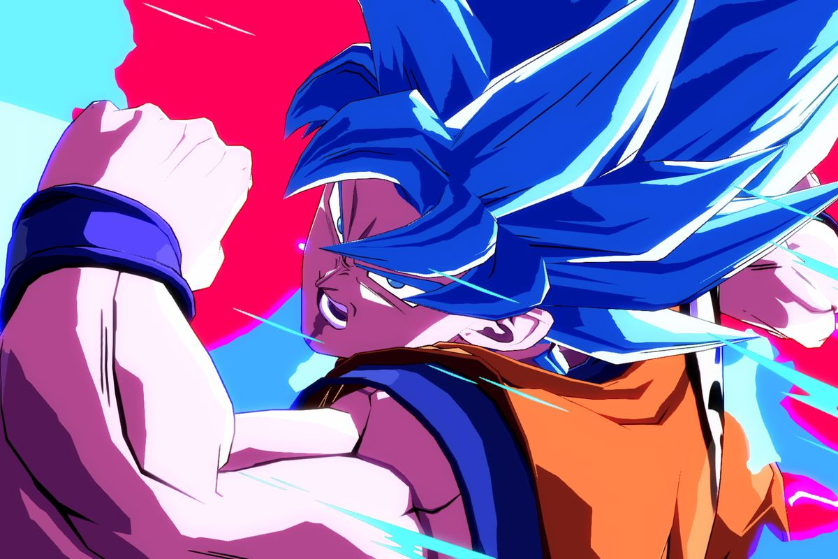 A close-up shot of Goku in Dragon Ball FighterZ