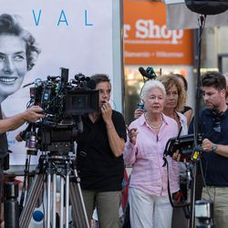 """Writer/director Eleanor Coppola on the set of """"Paris Can Wait."""""""