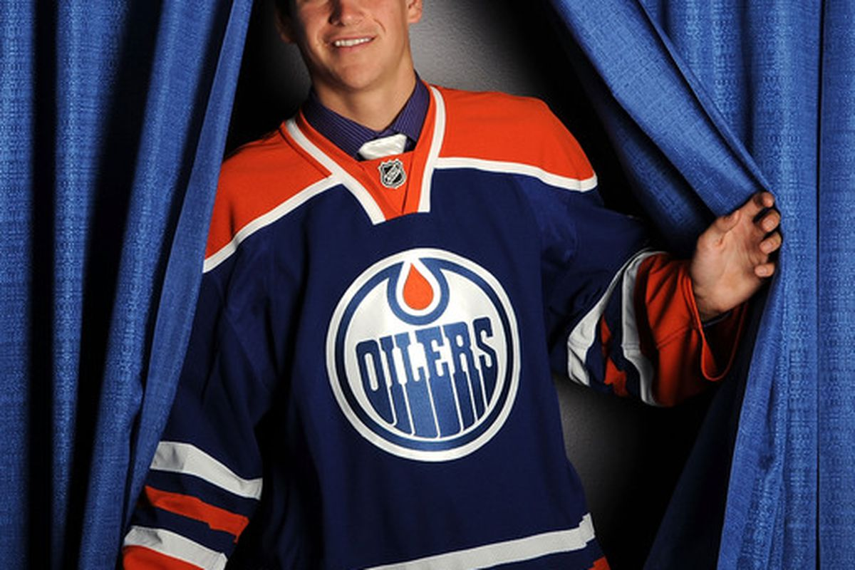 LOS ANGELES, CA - JUNE 26:  Jeremie Blain, drafted in the fourth round by the Edmonton Oilers, poses for a portrait during the 2010 NHL Entry Draft at Staples Center on June 26, 2010 in Los Angeles, California.  (Photo by Harry How/Getty Images)