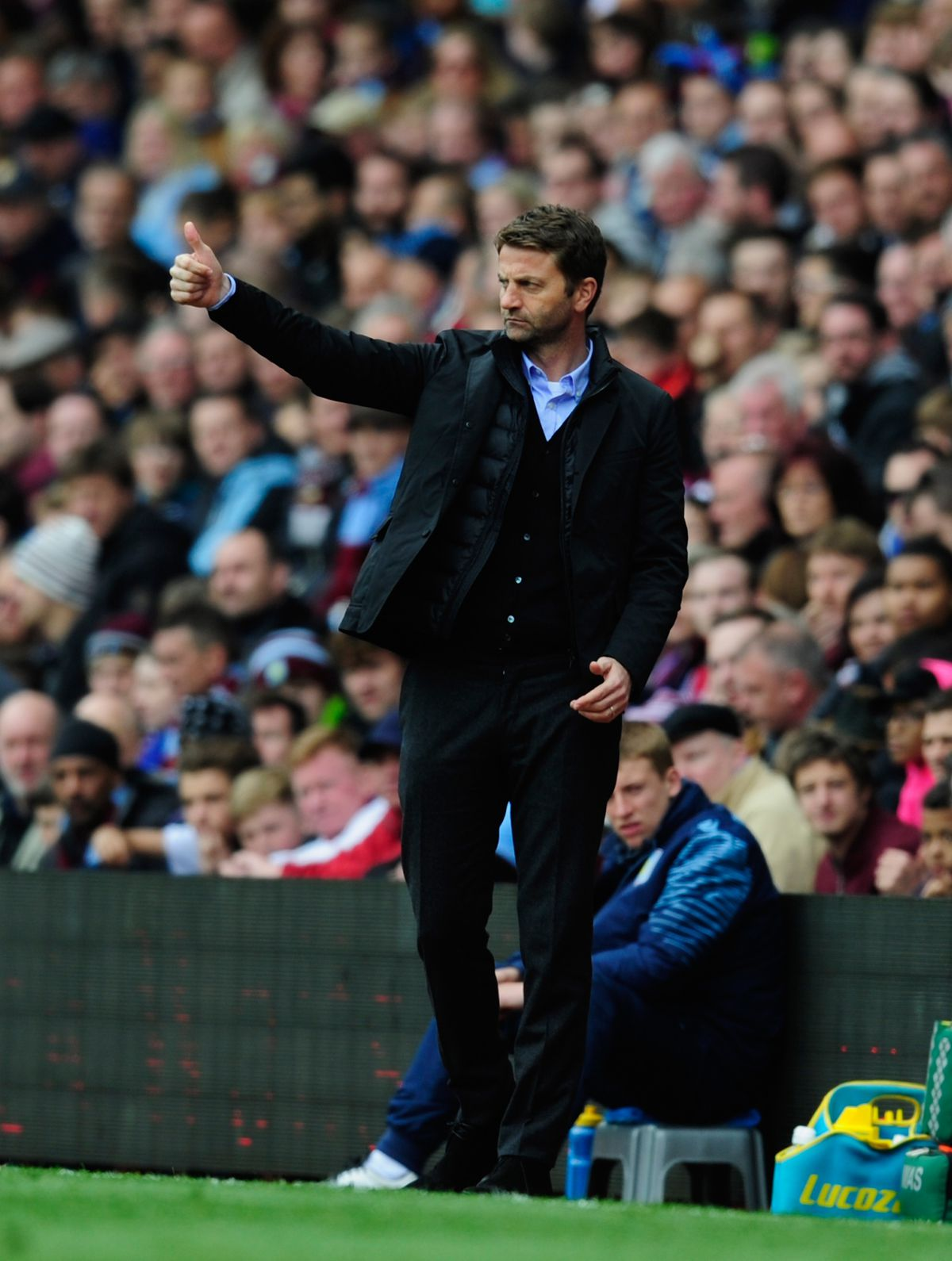 BIRMINGHAM, ENGLAND - MAY 09:  Villa manager Tim Sherwood reacts during the Barclays Premier League match between Aston Villa and West Ham United  at Villa Park on May 9, 2015 in Birmingham, England.  (Photo by Stu Forster/Getty Images)