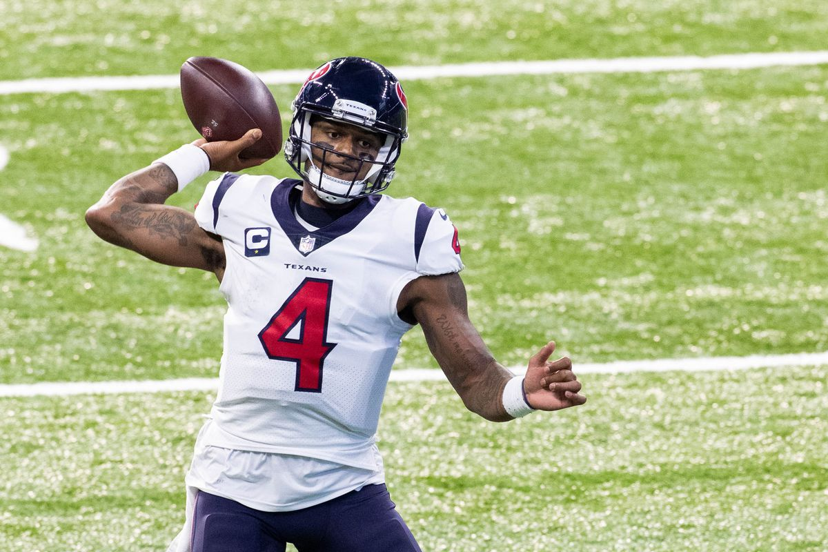 Houston Texans quarterback Deshaun Watson (4) passes the ball against the Indianapolis Colts in the first half at Lucas Oil Stadium.