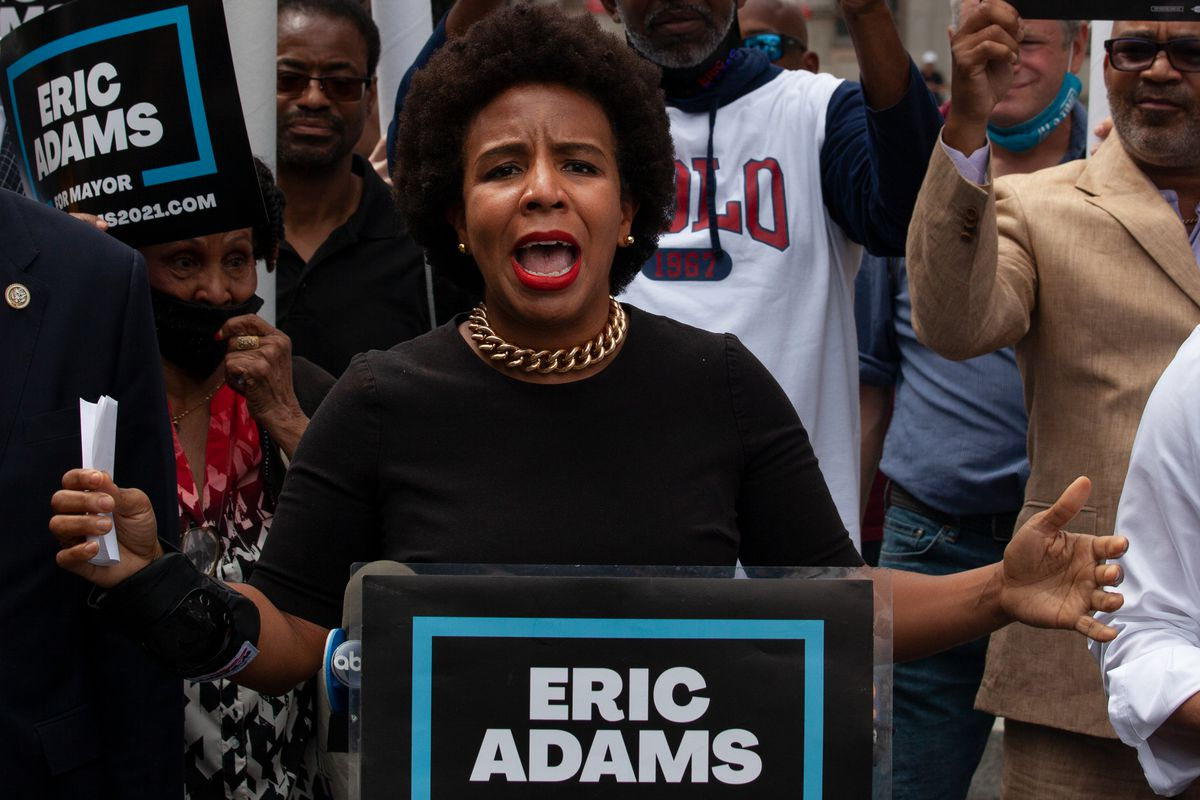 Council Majority Leader Laurie Cumbo speaks in support of Eric Adams at a campaign rally in Cadman Plaza on Wednesday, June 2, 2021.