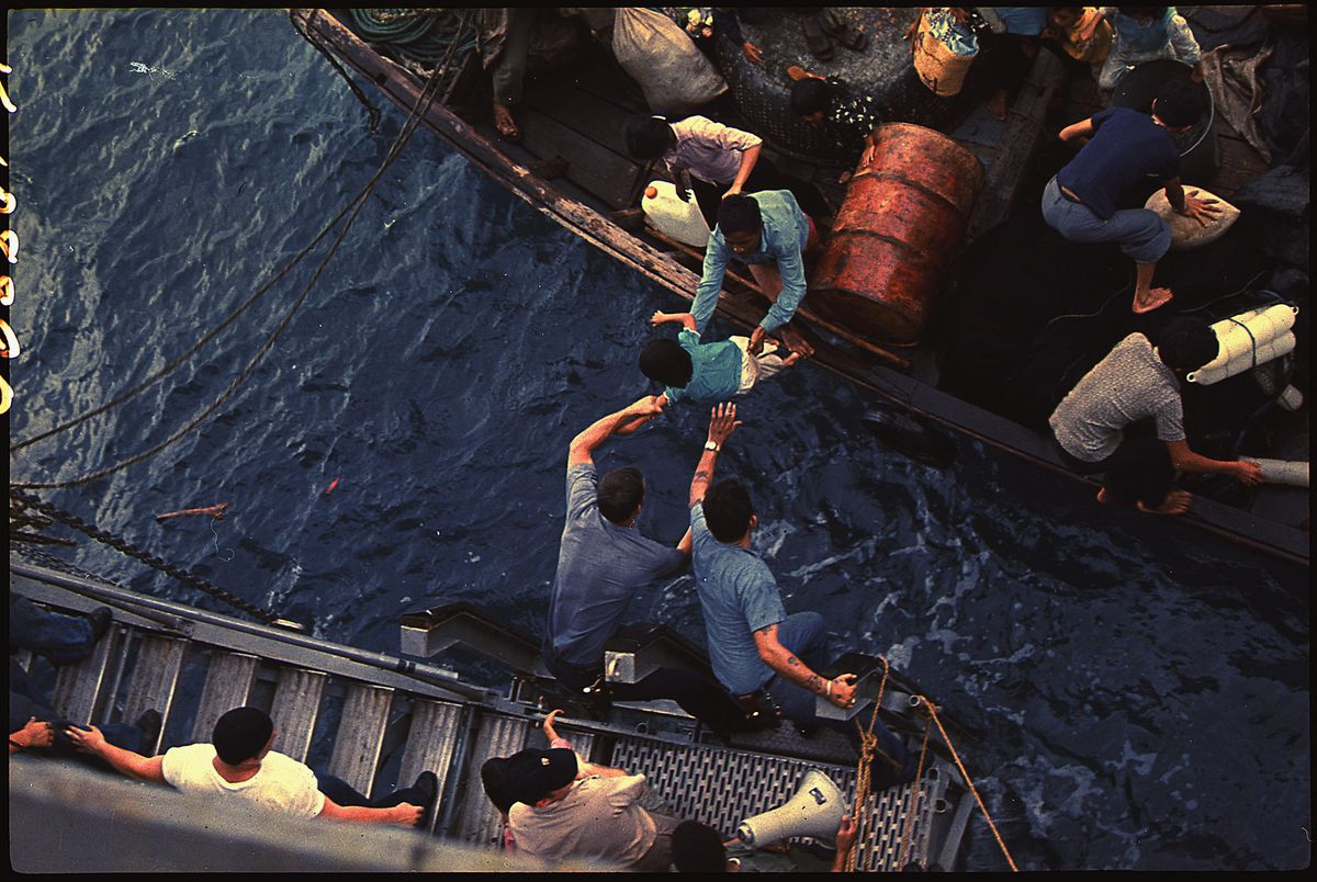 Vietnamese refugees in 1975.