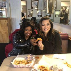 Ji Suk Yi with Aisha Murff at Haire's Gulf Shrimp in Auburn Gresham. | Brian Rich/ Sun-Times