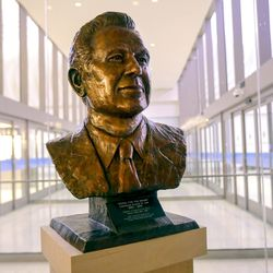 A bust of Lawrence (Larry) H. Lee, former president and CEO of Western Airlines, is pictured after its unveiling during a ceremony to mark the 100-year anniversary of the Salt Lake City International Airport in Salt Lake City on Monday, Dec. 21, 2020.