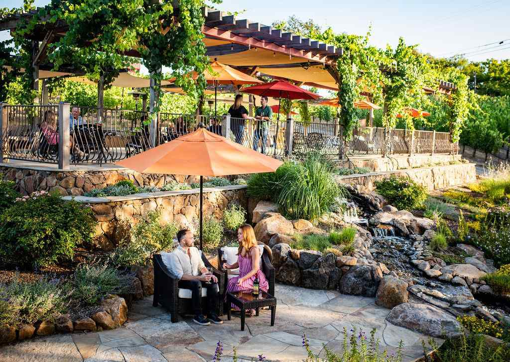 Outdoor seating at Martinelli winery