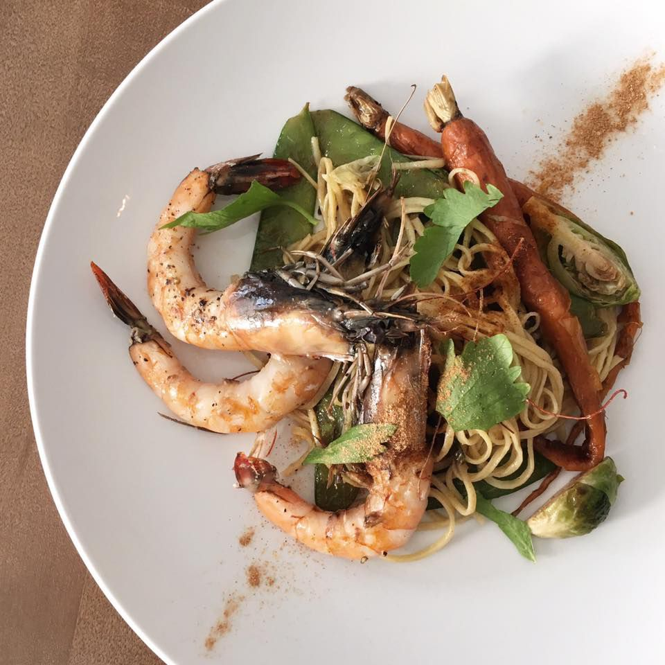 Perla's pancit with gulf prawns, brussel sprouts, carrots, and calamansi