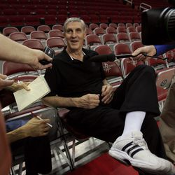 Utah head coach Jerry Sloan talks with the media after practice for Game 2 on Sunday at the Toyota Center in Houston on April 22, 2007.