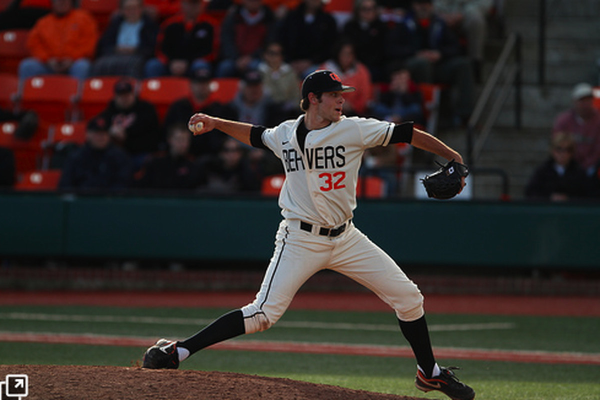 """Sam Gaviglio, normally a ground-ball inducing pitcher, sat down 13 Arizona batters in Saturday's game, which ended up being OSU's first shutout in Pac-10 play.  (Photo by <a href=""""http://www.flickr.com/photos/ericksonimages/"""">Ethan Erickson</a>)"""