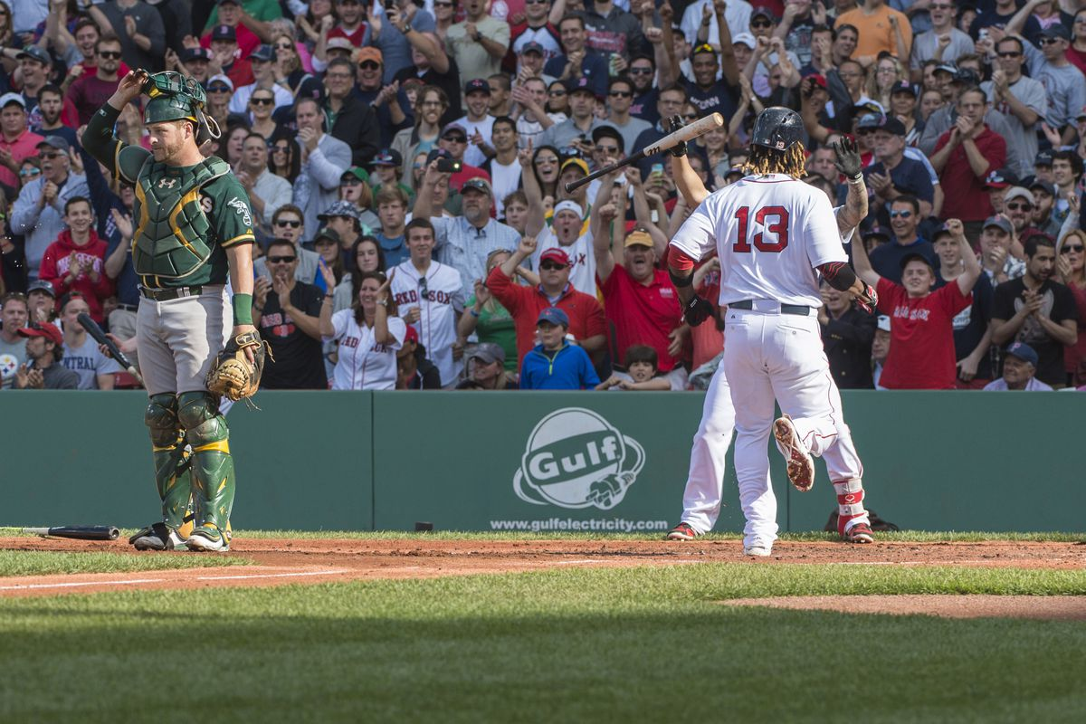 Stephen Vogt ponders how the left side of the infield came to be.