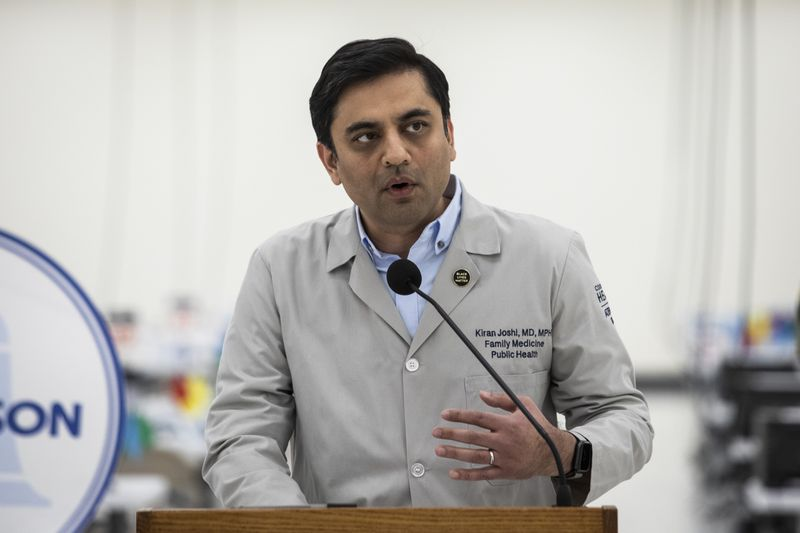 Dr. Kiran Joshi, co-lead and senior medical officer for the Cook County Department of Public Health, speaks during a news conference to announce the opening of the county's sixth large-scale community vaccination site in Matteson, Tuesday afternoon, April 13, 2021.